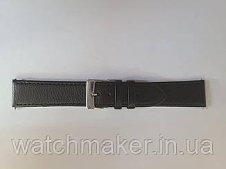 Черный кожаный ремешок для часов с матовым покрытием, прошитый черной строчкой 20 мм (18 мм)