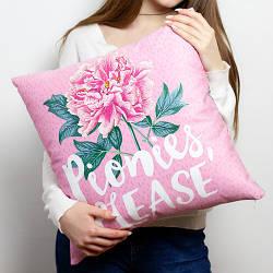 Подушка диванна з оксамиту Pionies, please 45x45 см (45BP_20F001)