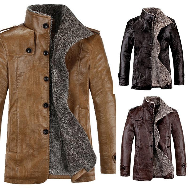 Стильная кожанная утепленная мужская куртка