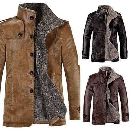 Стильная кожанная утепленная мужская куртка, фото 2
