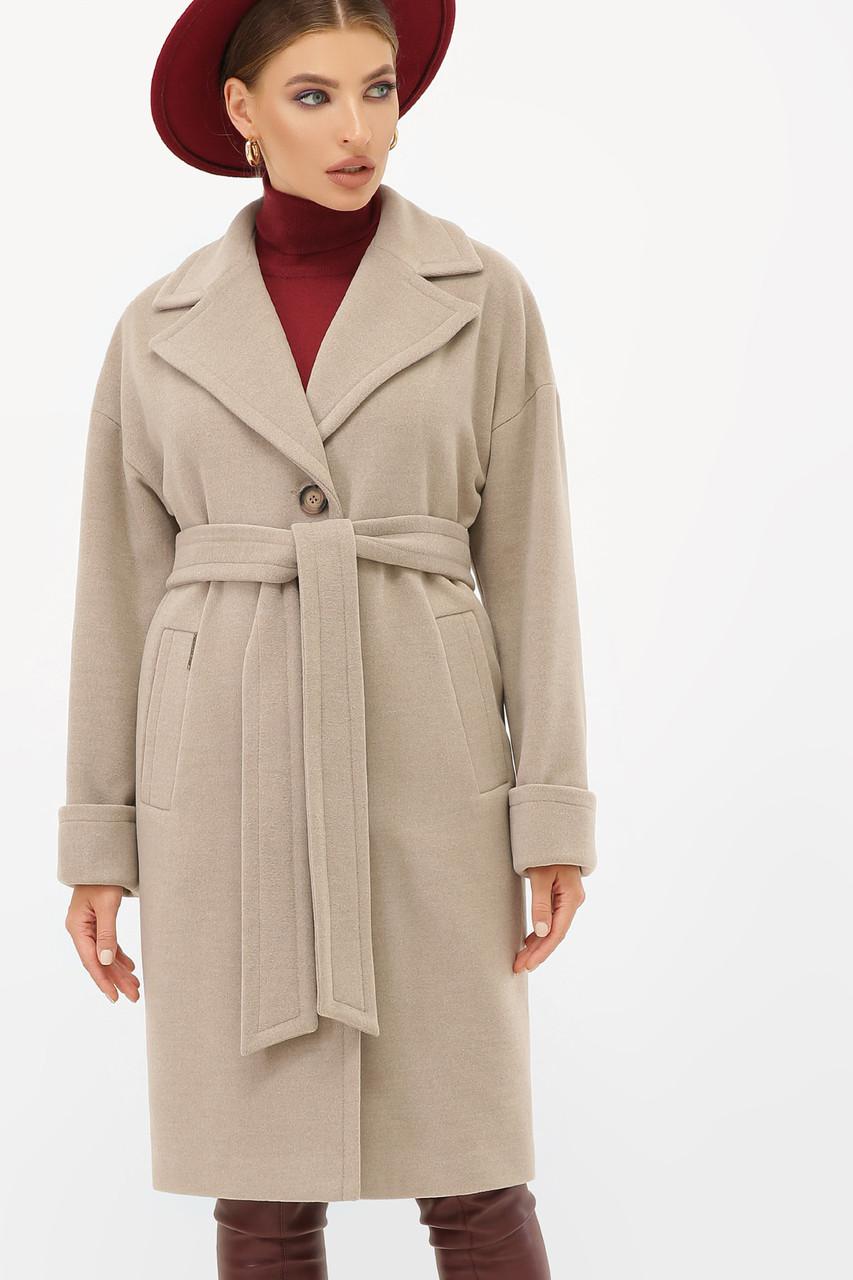 Женское кашемировое пальто светло-серое П-408-100