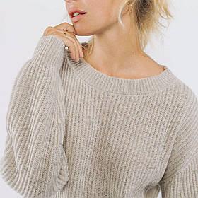 Теплая короткая кофта-свитер с круглой горловиной свободного кроя в 5 цветах в универсальном размере