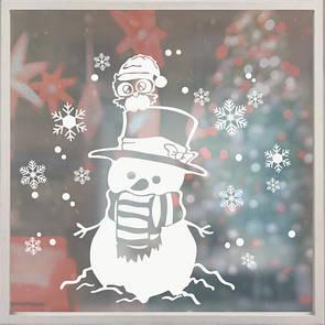 Наклейка на стіну Веселий сніговик