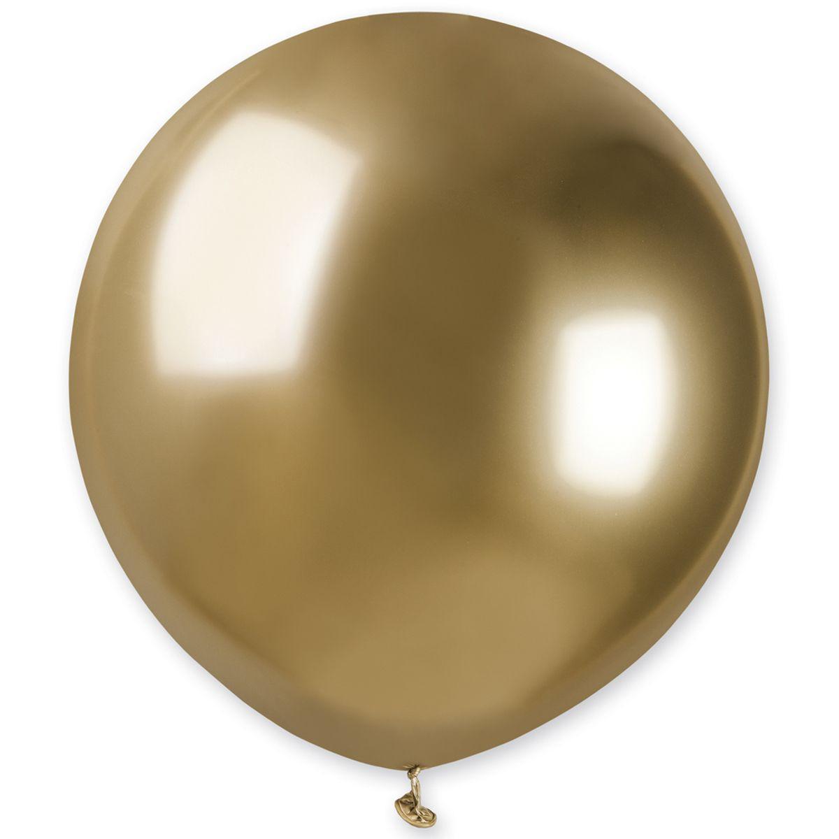Воздушный шар без рисунка 48 см золото хром