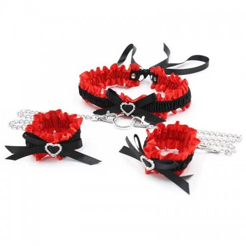 БДСМ набор Love Collar ошейник и наручники секс набор черный с красным