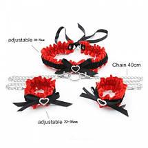 БДСМ набор Love Collar ошейник и наручники секс набор черный с красным, фото 3