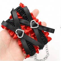 БДСМ набор Love Collar ошейник и наручники секс набор черный с красным, фото 2