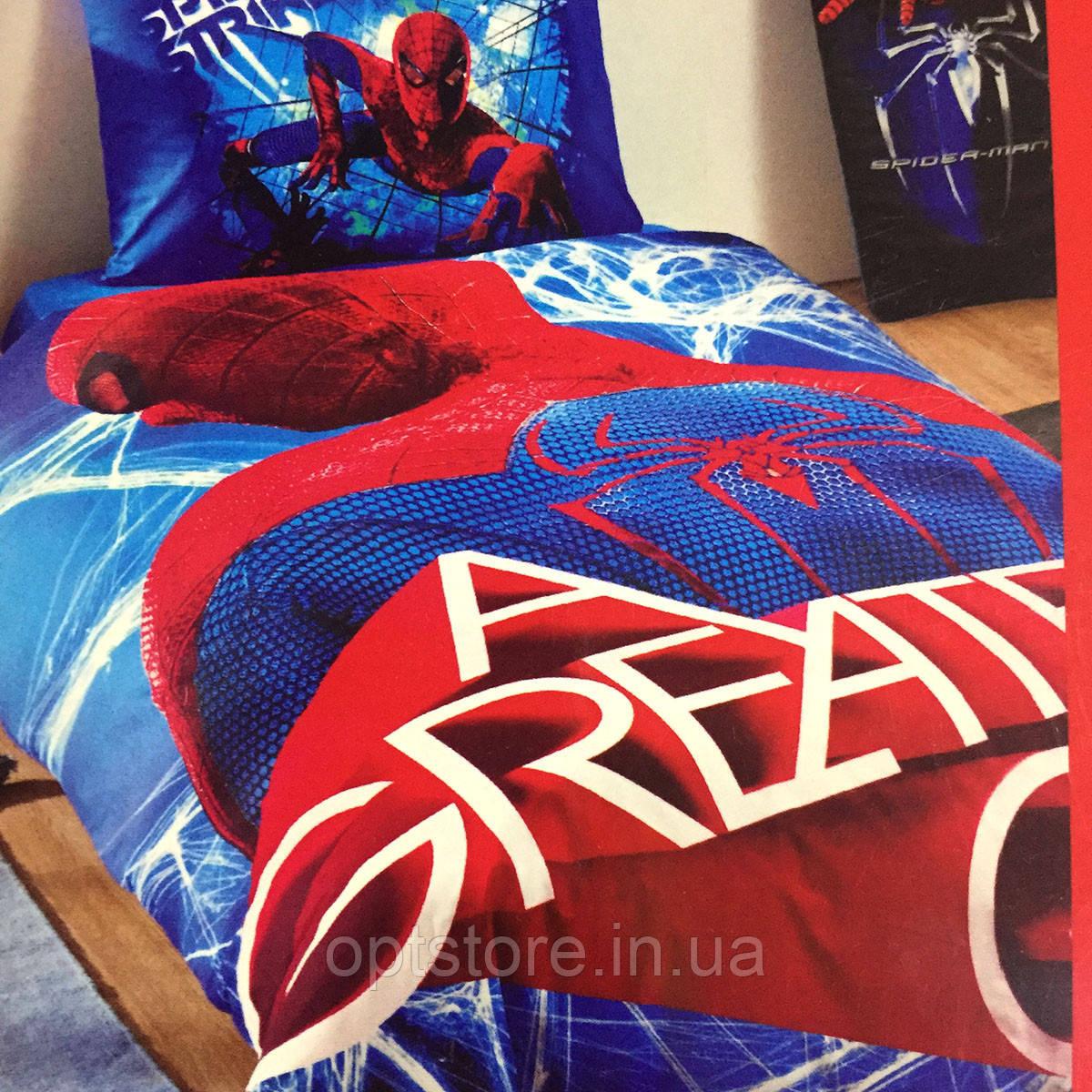 Дитяче та підліткове постільна білизна TAC Spiderman ранфорс / простирадло на гумці