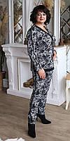 Стильный женский брючный костюм в серую клетку с напылением флоком большие размеры  50,52,54,56, фото 1