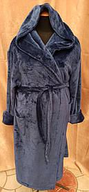 Халат мужской длинный с капюшоном, Халат махровый мужской, Мужской махровый халат Темно-Синий!