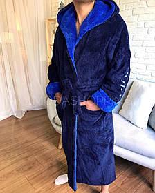 Халат мужской длинный с капюшоном, Халат махровый мужской длинный с капюшоном Темно синий Спорт.