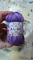 Нитки мерсеризованные для вязания Alize Miss Melange. 50 г. 280 м. Основный цвет - фиолетовый.