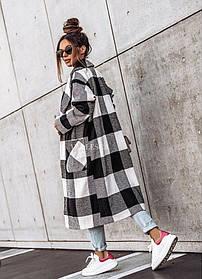 Свободное женское пальто в клетку с большими карманами, Пальто кашемировое в крупную клетку