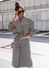 Свободное женское пальто в мелкую клетку с большими карманами, Пальто кашемировое в мелкую клетку