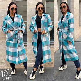 Женское пальто в клетку с большими карманами (р.42-44,46-48,50-52)  Пальто кашемировое в Бело-Голубую клетку