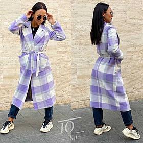 Женское пальто в клетку с большими карманами (р.42-44,46-48,50-52)  Пальто кашемировое в клетку с карманами!