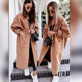 Женское пальто с большими карманами Бежевое р.42-46 48-52