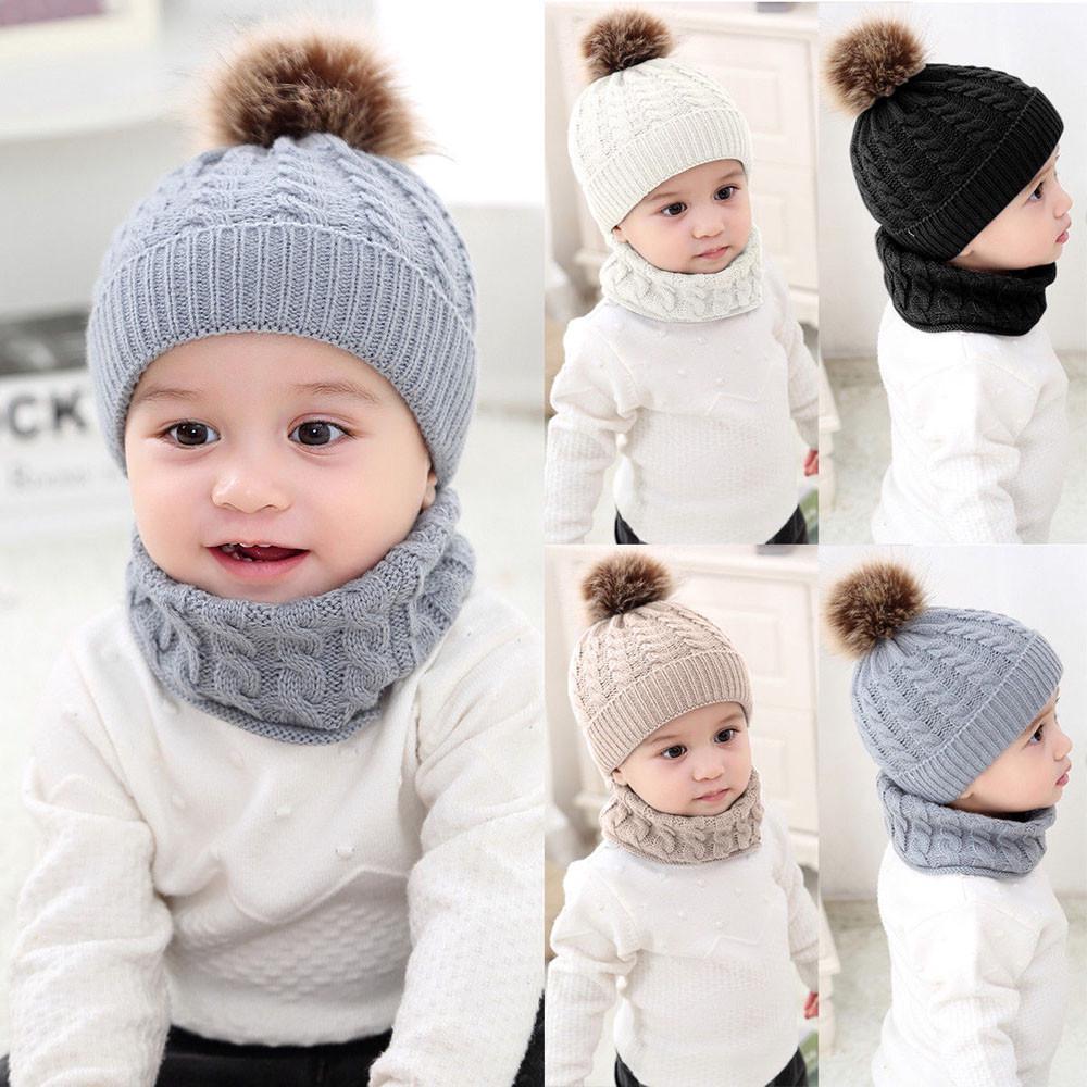 Вязанный теплый детский набор Шапка и шарф-хомут