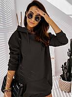Черное теплое платье с капюшоном размер 50-52