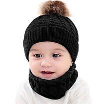 Вязанный теплый детский набор Шапка и шарф-хомут, фото 3