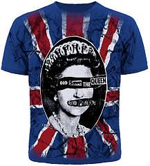 "Футболка Sex Pistols ""God Save The Queen"" (синяя футболка с британским флагом), Размер M"