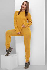 Легкий вязаный костюм цвет горчичный размер 42-46
