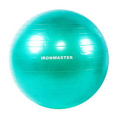 Фітбол гладкий 65см салатовий IronMaster, (Anti-burst)