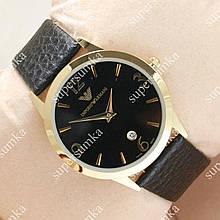 Модные наручные часы Armani Slim Quartz Gold/Black 101 для мужчин