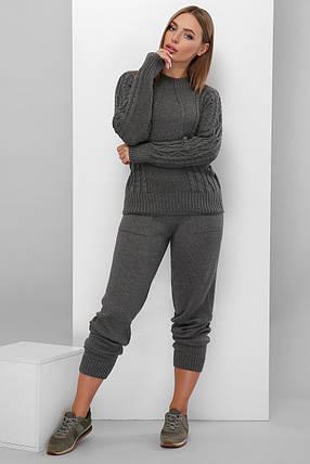Теплый вязаный костюм свитер брюки на манжете графит 42-46, фото 2
