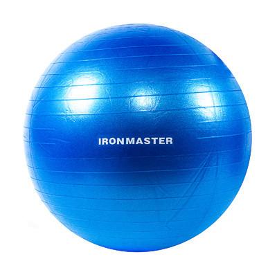 Фітбол гладкий 65см синій IronMaster, (Anti-burst)