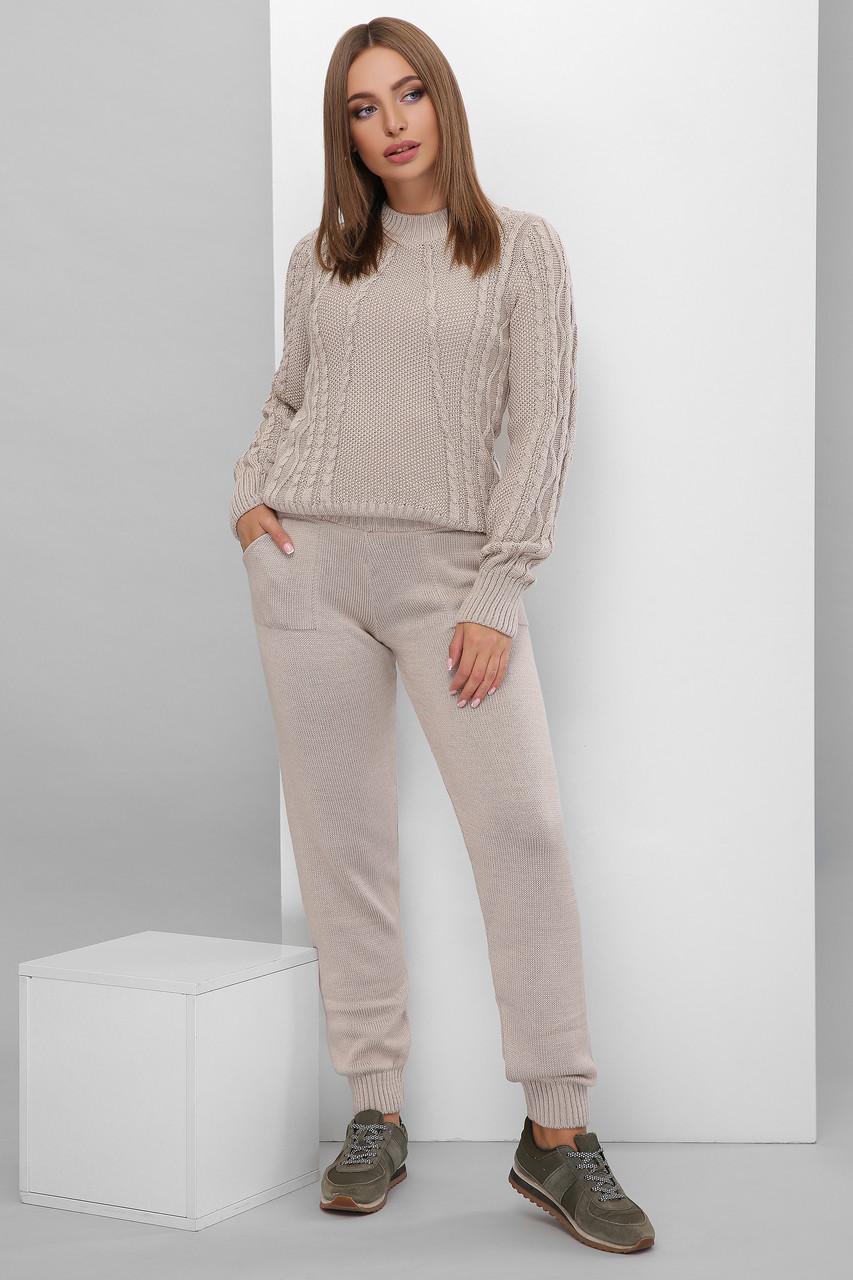 Костюм теплий в'язаний светр штани капучіно розмір 42-46