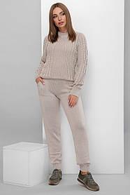 Костюм теплый вязаный свитер брюки капучино размер 42-46