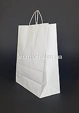 Бумажный пакет 230х110х290 белый с ручками, плотность 90г/м2, фото 3