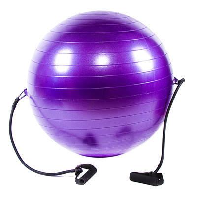 М'яч для фітнесу з еспандером 65см бузковий IronMaster, фото 2