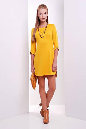 Платье однотонное трикотажное с разрезами на рукавах цвет горчица, фото 2