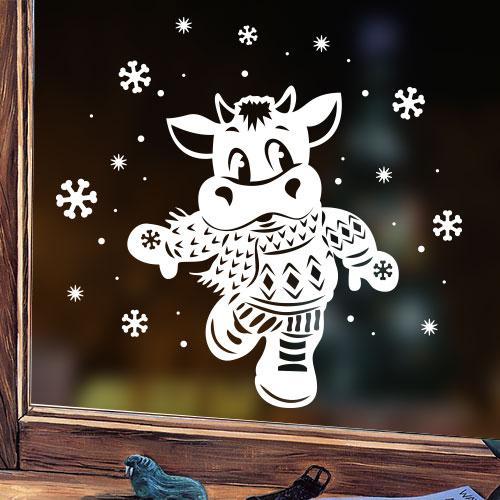 Наклейка Новорічний бичок (новогодняя наклейка бык, корова)