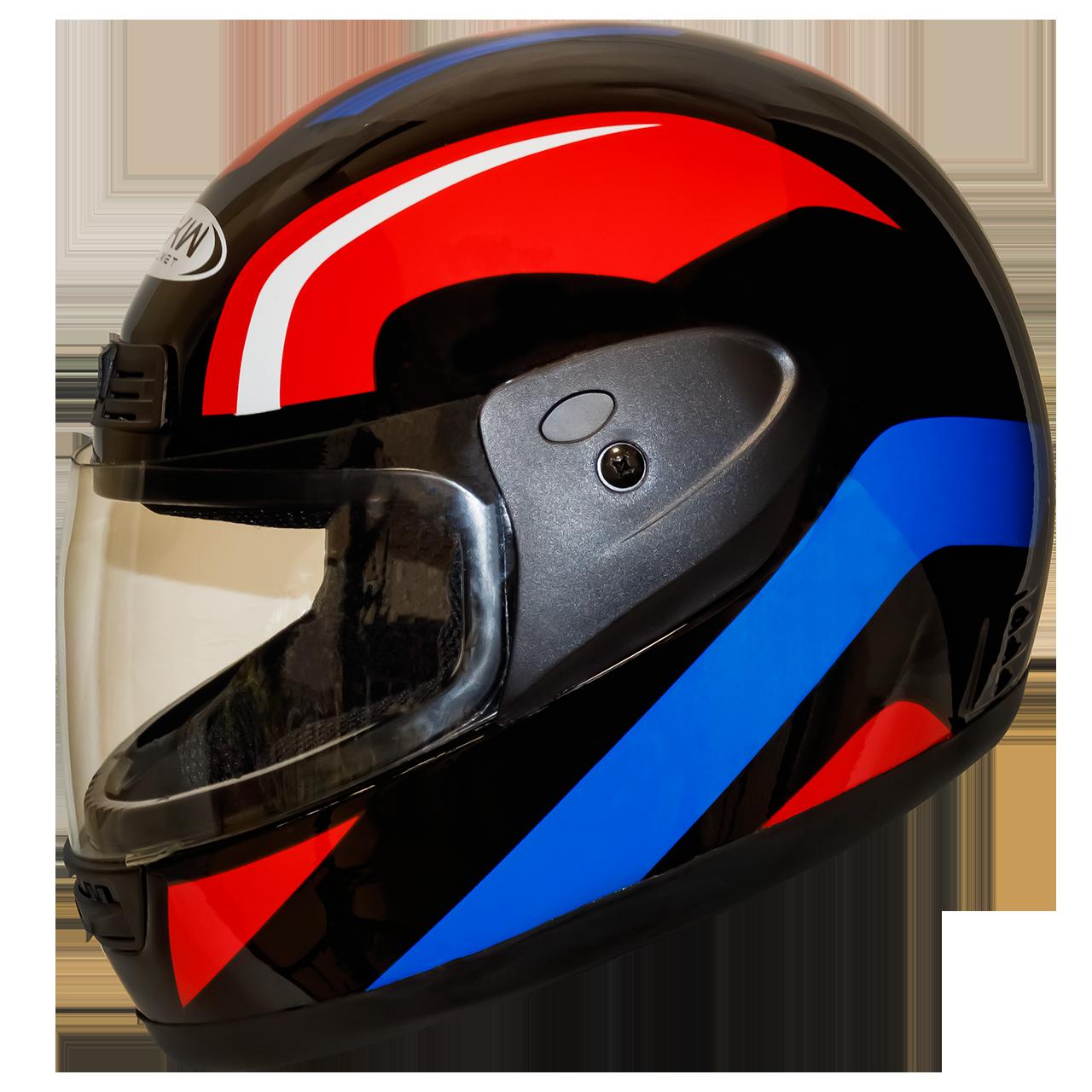 Мотошлем FXW HF-109 solid black-red-blue закрытый шлем интеграл, full-face чёрно-красно-синий глянцевый