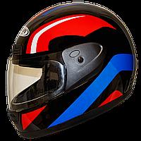 Мотошлем FXW HF-109 solid black-red-blue закрытый шлем интеграл, full-face чёрно-красно-синий глянцевый, фото 1