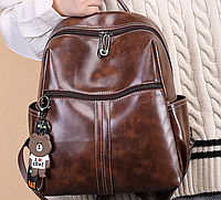 Сумка женская рюкзак городской коричневый искусственная кожа с потайным карманом отверстием для наушников