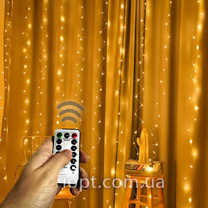 Гирлянда Штора на Проволоке Теплый Белый 300 LED, с Пультом, 3х3м, USB