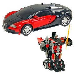 Радиоуправляемая машинка-трансформер красная Transforms Bugatti Veyron размер 1:18