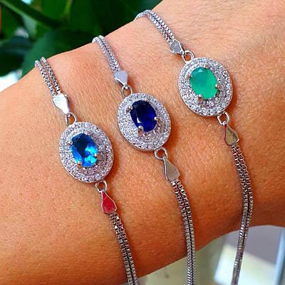 Жіночий браслет срібло - Срібний браслет із зеленим каменем