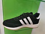 Чоловічі кросівки adidas lniki runner black замшеві, фото 2