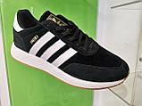 Чоловічі кросівки adidas lniki runner black замшеві, фото 4