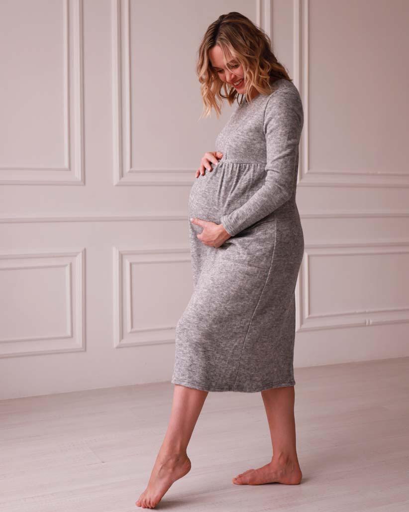 Платье для беременных и кормящих мам ангоровое серое