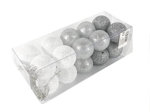 Гирлянда Тайские Шарики LTL Cold Cotton Balls 20led, диам 6см, длина 330см на батарейках АА, фото 2