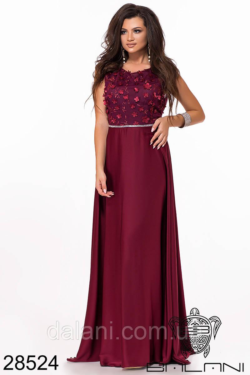 Вечернее шелковое бордовое платье в пол