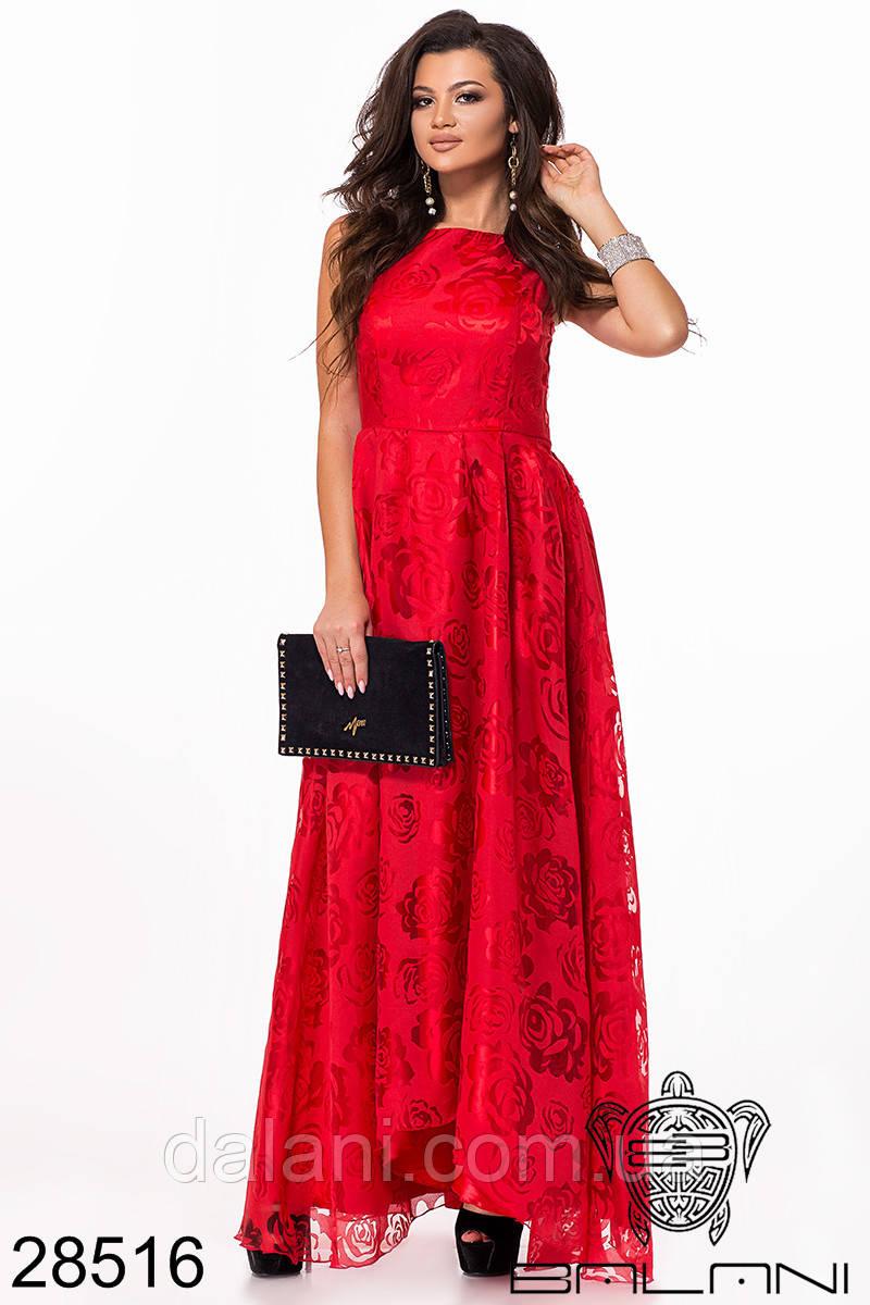 Вечернее атласное красное платье в пол