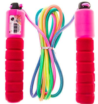 Скакалка со счетчиком прыжков с неопреновыми ручками красная НХ-218, фото 2