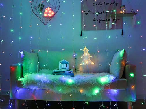 Гирлянда штора мультицвет 240 LED, 3*1.5 м, с переходником, фото 2